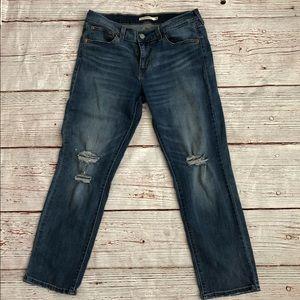 Levi's intentionally distressed boyfriend jeans